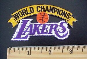 """VINTAGE LOS ANGELES LAKERS NBA BASKETBALL WORLD CHAMPIONS 3 1/2 """"X 1 3/4"""" PATCH"""