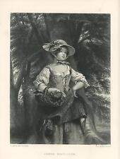 ANTIQUE GORGEOUS MEDIEVAL WOMAN CORSET BONNET BASKET PHOEBE MAYFLOWER OLD PRINT