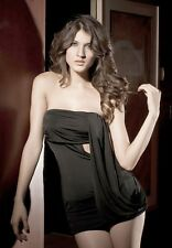 Black Strapless Cut out Drape Mini Dress sexy 457 Clubwear and One Size REDUCED