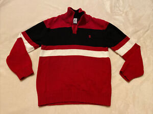 IZOD Boy/'s Tango Red Sweater Size 4//5 XS Plaid Shirt Pullover 1//4 Zip Collar NWT