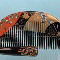 Vintage antique comb and hairpin gold lacquer work Raden kimono Kanzashi Japan