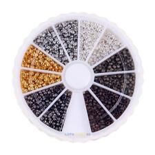 3000pcs 6 Colors/ box 2mm Brass Round Crimp End Beads for Jewelry Accessories