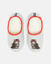 Joules Womens Slippet Felt Mule Applique Slippers - Grey Cat