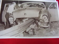 1951 ? FORD SPEARED BY GUARD RAIL DRIVER FELL ASLEEP   11 X 17  PHOTO   PICTURE