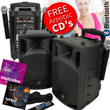 Battery & Mains Portable Aerobics PA Set With Bluetooth & CD/DVD Player Inc CD's