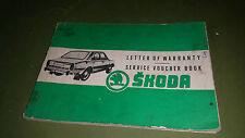 Skoda Car Service Voucher Book Vintage Collectable