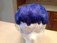 Vintage Ladies Hat Headpiece Deep Blue Feathers All ARound W/Netted Veil Clean