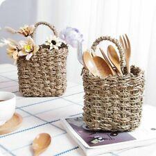 Woven Baskets Flower Tableware Container Kitchen Wall Hanging Pot Storage Box