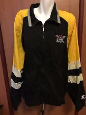 Pirates Zip Up Starter XL Lt Jacket Black Yellow windbreaker Vintage