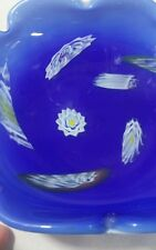 VINTAGE MURANO COBALT WHITE MILLEFIORI ART GLASS CANDY DISH BOWL ROLLED EDGE