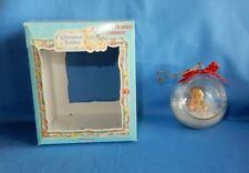 Vintage Enesco Cherished Teddies w Doll Glass Holiday Christmas Ornament in Box