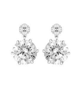 3Ct Signity Diamond Prong Set Drop Earrings Set In 925 Sterling Silver