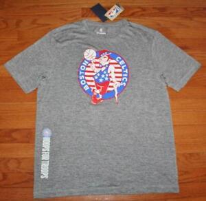 NEW NWT Mens Boston Celtics T-Shirt Hoops For Troops Red White Blue Logo NBA *E4