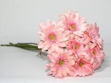 Artificial Silk Flowers 7 x Pink  Gerbera Flower Stems Bunch -Arrangement 47cm.