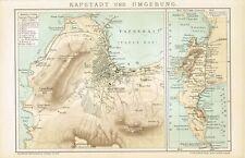 Karte KAPSTADT und UMGEBUNG 1894 Original-Graphik