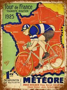 Tour de France 1925  Retro Metal Tin Sign Poster Plaque Garage Wall Decor A4