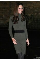RALPH LAUREN WOOL/ CASHMERE KHAKI GREEN  SWEATER DRESS M UK10