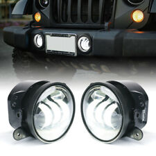 Xprite 2x 4 Inch LED Fog Lights Round Driving Lamp for Jeep Wrangler JK JL TJ CJ