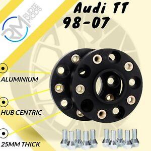 2 X 15mm Negro Aleación Separadores De Rueda Pernos De Plata-Audi TT TTRS 2 X 12mm