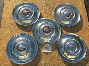 """1951 PONTIAC CHIEFTAIN, STREAMLINER, DELUXE 15"""" WHEEL COVERS, HUBCAPS, LOT OF 5"""