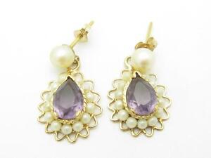 14k Yellow Gold & Purple Amethyst Cultured Pearl Chandelier Design Earrings Gift