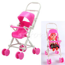 New Assembly Baby Stroller Trolley Nursery Furniture Toys For Barbie Doll Pink