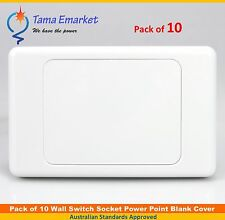 10 x Blank Plate Cover for Wall Light Switch Power Point Socket Outlet White