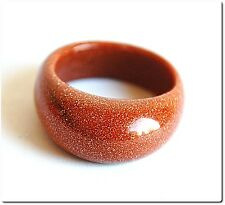 Bague verre scintillante caramel T 57 bijou mode soirée murano Lampwork ring