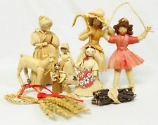 Vintage Straw Dolls Assorted Set of 9 Christmas Ornament Decoration