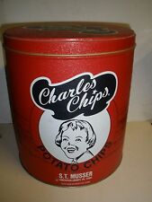 """Vintage Charles Potato Chips 9.5"""" Tall Tin Can Red Black & White Commemorative"""