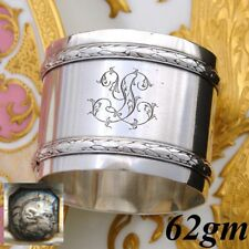 "Antique French Sterling Silver 2"" Napkin Ring, Classical Empire Laurel Bands"