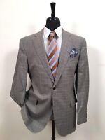 Jack Victor Wool Silk Houndstooth Brown Blue Blazer Sport Coat Jacket Men's 44 R