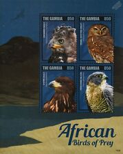 African Birds of Prey Stamp Sheet (Crowned Eagle/Peregrine Falcon/Owl) Gambia