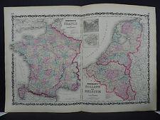 Antique Map Johnson's, 1862 Double Page, France, Holland, Belgium M10#36