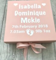 PERSONALISED Footprint BABY BOX Ribbon tie, MEMORY BOX Gift Present NEWBORN
