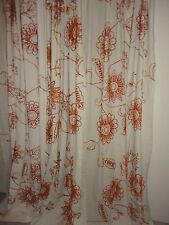 WORLD MARKET COST PLUS EMBROIDERED AMBER RUST FLORAL (PAIR) PANELS 48X84