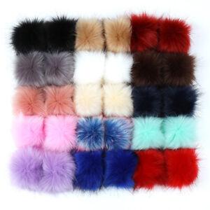 30PCS Faux Fur Pom Pom Balls DIY with Elastic Loop for Hats Scarves Gloves Bags
