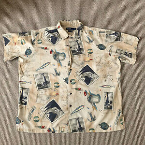 Polo Ralph Lauren Vintage Camp Shirt Short Sleeve Fishing Theme Men's Size XL