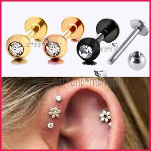 16G Titanium Steel Crystal Ball Labret Tragus Ear Lip Bar Stud Earring Piercing