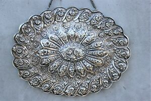 Oval vintage Islamic Mirror Turkish 900 Silver Frame Ornate Decorative Wall Mirr