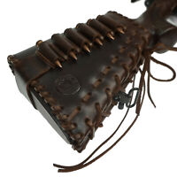 Leather Rifle Buttstock Ammo Holder with Cheek Rest Pad, Cartridge Shell Holder