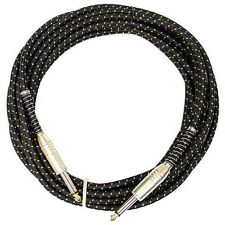 Vintage Cloth Tweed Guitar Cable 20ft  - Black/Gold