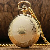 Golden Pocket Watch Necklace Chain Antique Fob Watches Mechanical Hand Wind