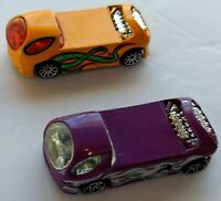 2 Hot Wheels Deora II Cars Orange + Purple Mattel 1999 1/64 Toy Vehicles Lot