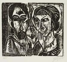 GROß, Doppelporträt einer Frau u. e. Pfeife rauchenden Mannes, 1975, Holzsch.
