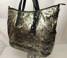 Tumi Hobo Tote Business Bag Laptop Metallic Snake Skin Purse Carry On All Womens