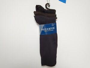 Silvertoe Goldtoe Brand Nylon Dress Socks Black Shoe Size 6-12 1/2 Sock Sz 10-13