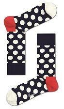 Happy Socks Navy With White Big Dot Socks UK Size 7 - 11 Mens Unisex Spotty Sock