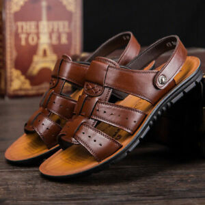 Summer Mens Beach Open Toe Driving Leather Flats Sandals Outdoor Casual Slippers