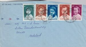 Suriname #B94-98 complete on cover to Netherlands *d